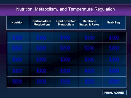 Nutrition, Metabolism, and Temperature Regulation $100 $200 $300 $400 $500 $100$100$100 $200 $300 $400 $500 Nutrition FINAL ROUND Carbohydrate Metabolism.