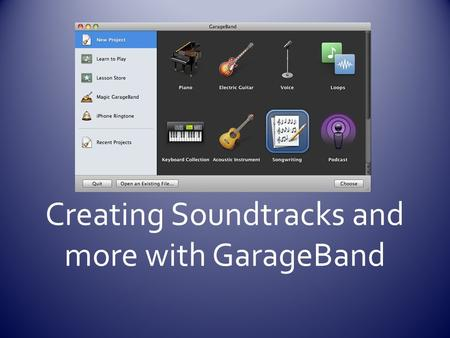 Creating Soundtracks and more with GarageBand. Timeline Track HeaderTrack Mixer Transport Controls Instrument Fx & Loop Browser Time display/tuner Master.