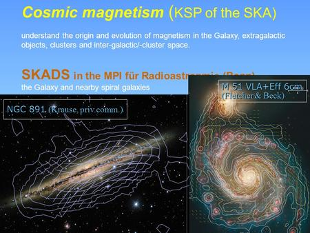 Cosmic magnetism ( KSP of the SKA) understand the origin and evolution of magnetism in the Galaxy, extragalactic objects, clusters and inter-galactic/-cluster.