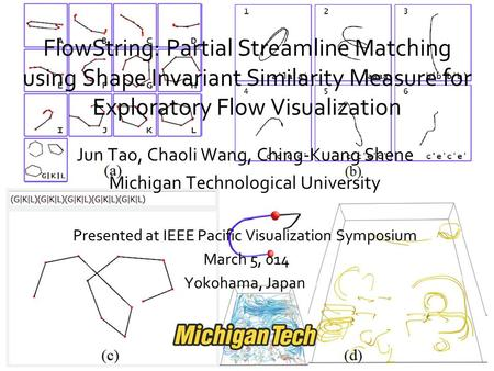 FlowString: Partial Streamline Matching using Shape Invariant Similarity Measure for Exploratory Flow Visualization Jun Tao, Chaoli Wang, Ching-Kuang Shene.