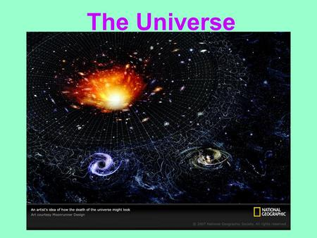 The Universe. The Universe is….. All matter, including earth, galaxies, and intergalactic space.