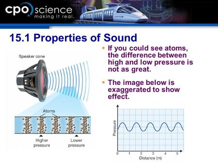 15.1 Properties of Sound  If you could see atoms, the difference between high and low pressure is not as great.  The image below is exaggerated to show.