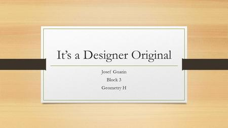 It's a Designer Original Josef Guarin Block 3 Geometry H.