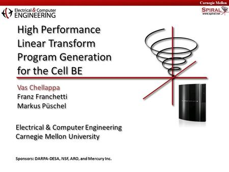 High Performance Linear Transform Program Generation for the Cell BE