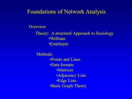 Foundations of <strong>Network</strong> <strong>Analysis</strong> Overview <strong>Theory</strong>: A structural Approach to Sociology Wellman Emirbayer Methods: Points <strong>and</strong> Lines Data formats Matrices Adjacency.