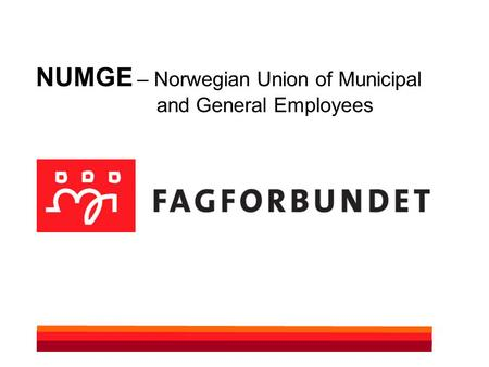 NUMGE – Norwegian Union of Municipal and General Employees.