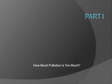 How Much Pollution Is Too Much?. Ethics and Economics.