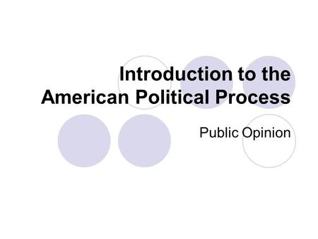Introduction to the American Political Process Public Opinion.