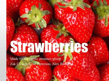 Strawberries Made by the public presence group Zak Clough, Cole Patterson, Alex Barker,