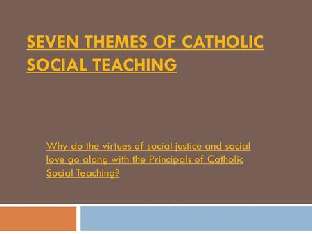 the catholic social teaching Explore the catholic social teaching principles and how they guide the work of caritas australia.