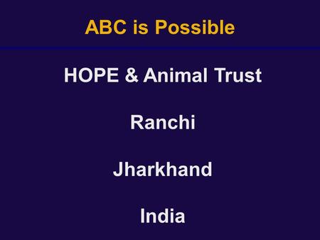 ABC is Possible HOPE & Animal Trust Ranchi Jharkhand India.
