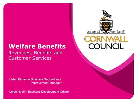 Welfare Benefits Revenues, Benefits and Customer Services Helen Bilham – Business Support and Improvement Manager Leigh Noall – Business Development Officer.