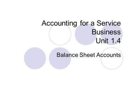 Accounting for a Service Business Unit 1.4 Balance Sheet Accounts.