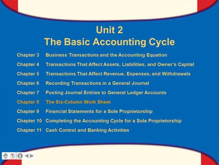 0 Glencoe Accounting Unit 2 Chapter 8 Copyright © by The McGraw-Hill Companies, Inc. All rights reserved. Unit 2 The Basic Accounting Cycle Chapter 3 Business.