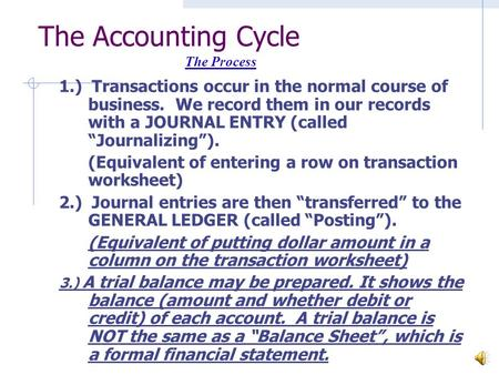 "The Accounting Cycle 1.) Transactions occur in the normal course of business. We record them in our records with a JOURNAL ENTRY (called ""Journalizing"")."