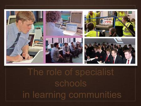 The role of specialist schools in learning communities.