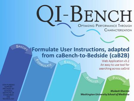 Formulate User Instructions, adapted from caBench-to-Bedside (caB2B) Web Application v3.2 An easy to use tool for searching across caGrid Mukesh Sharma.