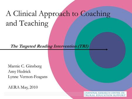 A Clinical Approach to Coaching and Teaching The Targeted Reading Intervention (TRI) Marnie C. Ginsberg Amy Hedrick Lynne Vernon-Feagans AERA May, 2010.