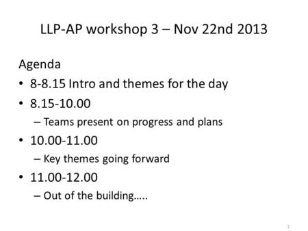 LLP-AP workshop 3 – Nov 22nd 2013 Agenda 8-8.15 Intro and themes for the day 8.15-10.00 – Teams present on progress and plans 10.00-11.00 – Key themes.