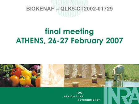 FOOD A G R I C U L T U R E E N V I R O N N M E N T BIOKENAF – QLK5-CT2002-01729 final meeting ATHENS, 26-27 February 2007.