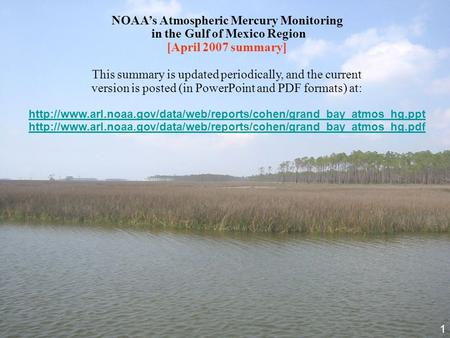 NOAA's Atmospheric Mercury Monitoring in the Gulf of Mexico Region [April 2007 summary] This summary is updated periodically, and the current version is.