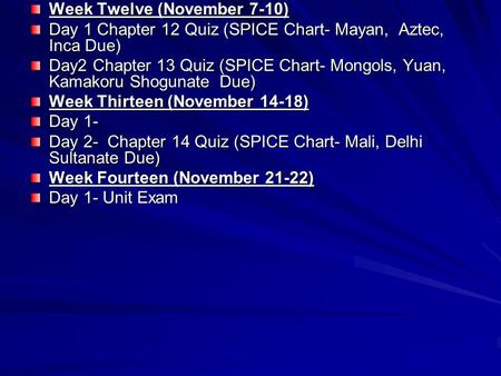Week Twelve (November 7-10) Day 1 Chapter 12 Quiz (SPICE Chart- Mayan, Aztec, Inca Due) Day2 Chapter 13 Quiz (SPICE Chart- Mongols, Yuan, Kamakoru Shogunate.