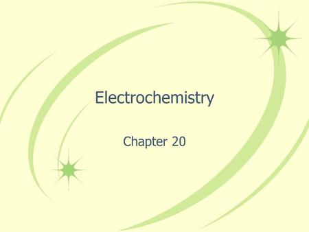 Electrochemistry Chapter 20. Electrochemistry = the study of relationships between electricity and chemical reactions Topics Include: –Batteries –Spontaneity.