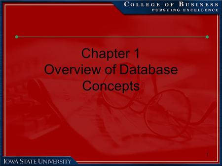 1 Chapter 1 Overview of Database Concepts. 2 Chapter Objectives Identify the purpose of a database management system (DBMS) Distinguish a field from a.