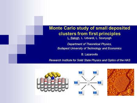 Monte Carlo study of small deposited clusters from first principles L. Balogh, L. Udvardi, L. Szunyogh Department of Theoretical Physics, Budapest University.