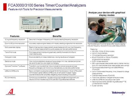 FCA3000/3100 Series Timer/Counter/Analyzers Feature-rich Tools for Precision Measurements Features Featuring:  300 MHz, 3 GHz, 20 GHz models  Up to 3.