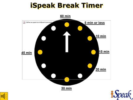 iSpeak Break Timer 60 min 45 min 30 min 20 min 15 min 10 min 5 min or less.