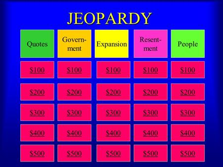 JEOPARDY QuotesPeople Resent- ment Expansion Govern- ment $100 $200 $300 $400 $500 $100 $200 $300 $400 $500 $100 $200 $300 $400 $500 $100 $200 $300 $400.