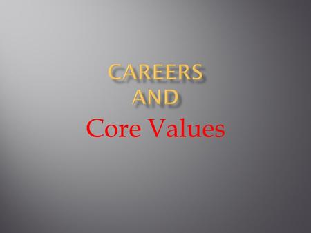 Core Values. Time Environment LocationPersonality Money.