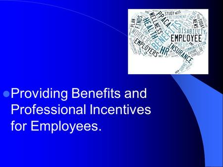 Providing Benefits and Professional Incentives for Employees.
