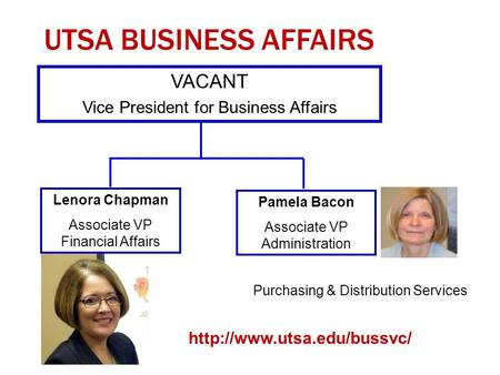 UTSA BUSINESS AFFAIRS 1 VACANT Vice President for Business Affairs Lenora Chapman Associate VP Financial Affairs Pamela Bacon Associate VP Administration.