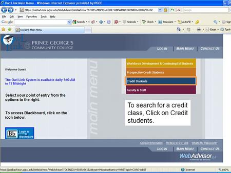 To search for a credit class, Click on Credit students.