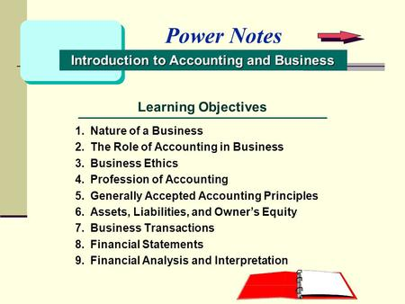 Learning Objectives 1.Nature of a Business 2.The Role of Accounting in Business 3.Business Ethics 4.Profession of Accounting 5.Generally Accepted Accounting.