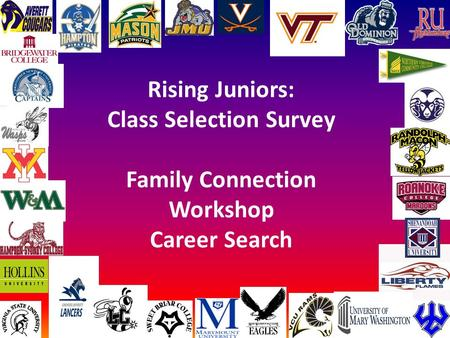 Rising Juniors: Class Selection Survey Family Connection Workshop Career Search.