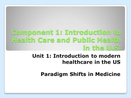 Component 1: Introduction to Health Care and Public Health in the U.S. Unit 1: Introduction to modern healthcare in the US Paradigm Shifts in Medicine.