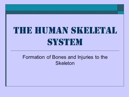 The Human Skeletal System Formation of Bones and Injuries to the Skeleton.