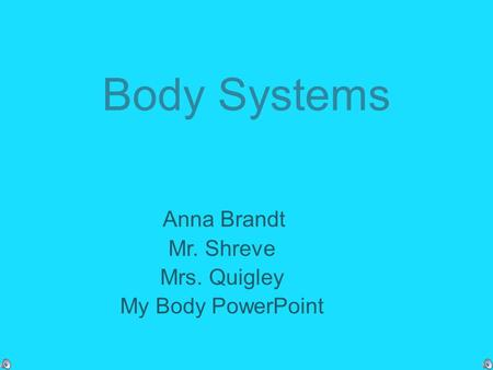 Body Systems Anna Brandt Mr. Shreve Mrs. Quigley My Body PowerPoint.