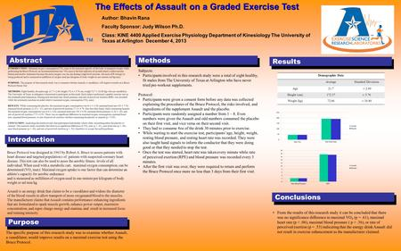 Results. Abstract Introduction Methods Purpose Conclusions Author: Bhavin Rana Faculty Sponsor: Judy Wilson Ph.D. Class: KINE 4400 Applied Exercise Physiology.