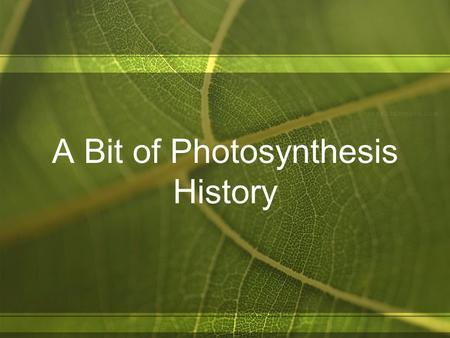 A Bit of Photosynthesis History. 1643 – Jan van Helmont Planted a seed into A pre-measured amount of soil and watered for 5 years Weighed Plant & Soil.