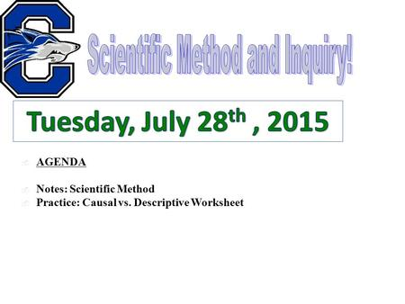  AGENDA  Notes: Scientific Method  Practice: Causal vs. Descriptive Worksheet.