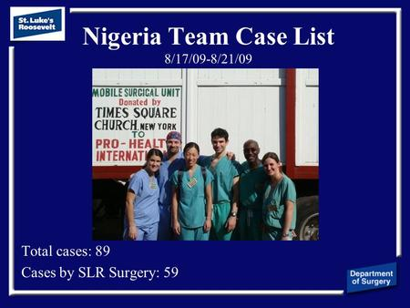 Nigeria Team Case List 8/17/09-8/21/09 Total cases: 89 Cases by SLR Surgery: 59.