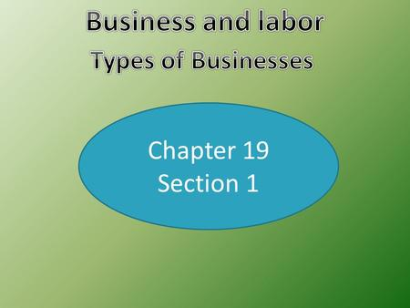 Chapter 19 Section 1. Proprietorships  Sole Proprietorship- A business owned and operated by a sole or single person. Advantage- Full pride in the owning.