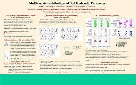 Multivariate Distributions of Soil Hydraulic Parameters W. Qu 1, Y. Pachepsky 2, J. A. Huisman 1, G. Martinez Garcia 3, H. Bogena 1, H. Vereecken 4 1 Institute.