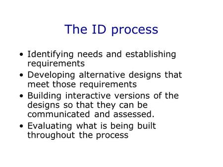 The ID process Identifying needs and establishing requirements Developing alternative designs that meet those requirements Building interactive versions.