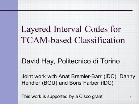 Layered Interval Codes for TCAM-based Classification David Hay, Politecnico di Torino Joint work with Anat Bremler-Barr (IDC), Danny Hendler (BGU) and.