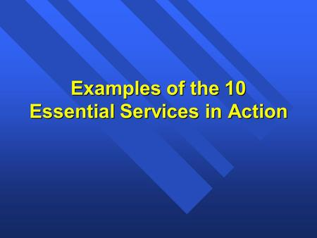 Examples of the 10 Essential Services in Action